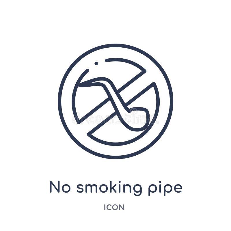 Linjärt ingen - symbol för röka rör från översikts- och flaggaöversiktssamling Tunn linje ingen - symbol för röka rör som isolera royaltyfri illustrationer