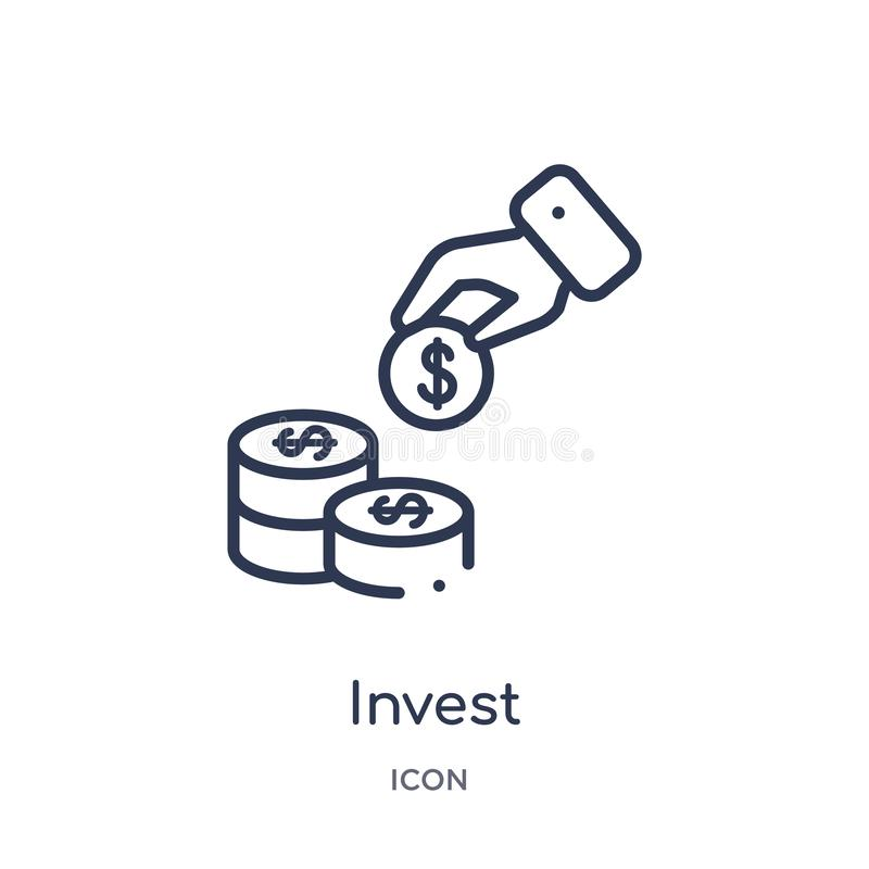 Linjärt investera symbolen från Cryptocurrency ekonomi och finansöversiktssamling Den tunna linjen investerar vektorn som isolera vektor illustrationer