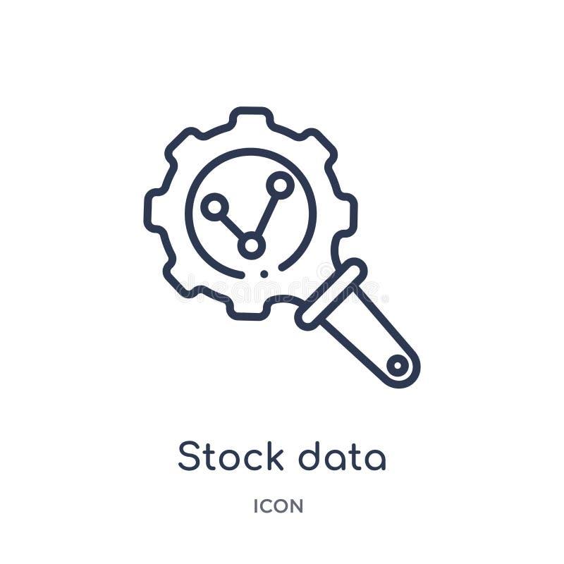 Linjärt lagerföra symbolen för dataanalys från affärs- och analyticsöversiktssamling Tunn linje vektor för materieldataanalys som stock illustrationer
