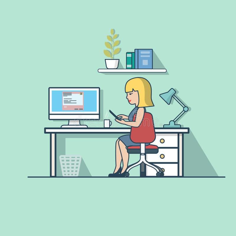 Linjärt plant avbrott för kontor för affärskvinna funktionsdugligt stock illustrationer