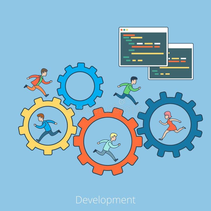 Linjärt plant program för utvecklingsfolkkugghjul royaltyfri illustrationer
