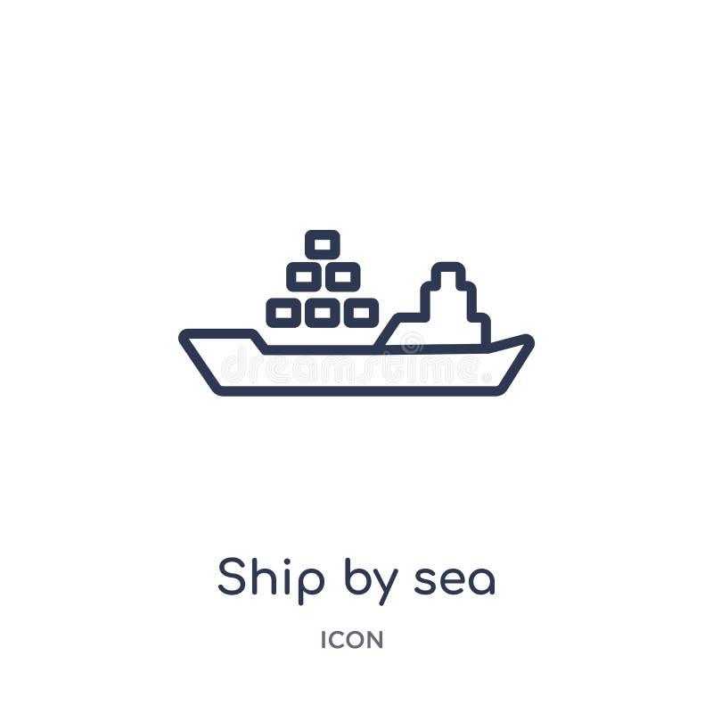 Linjärt skepp vid havssymbolen från leverans och logistisk översiktssamling Tunn linje skepp vid havsvektorn som isoleras på vit  vektor illustrationer