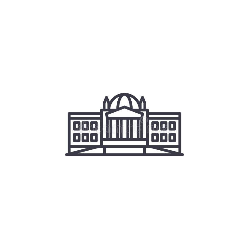Linjärt symbolsbegrepp för administrativ byggnad Administrativ byggnadslinje vektortecken, symbol, illustration vektor illustrationer