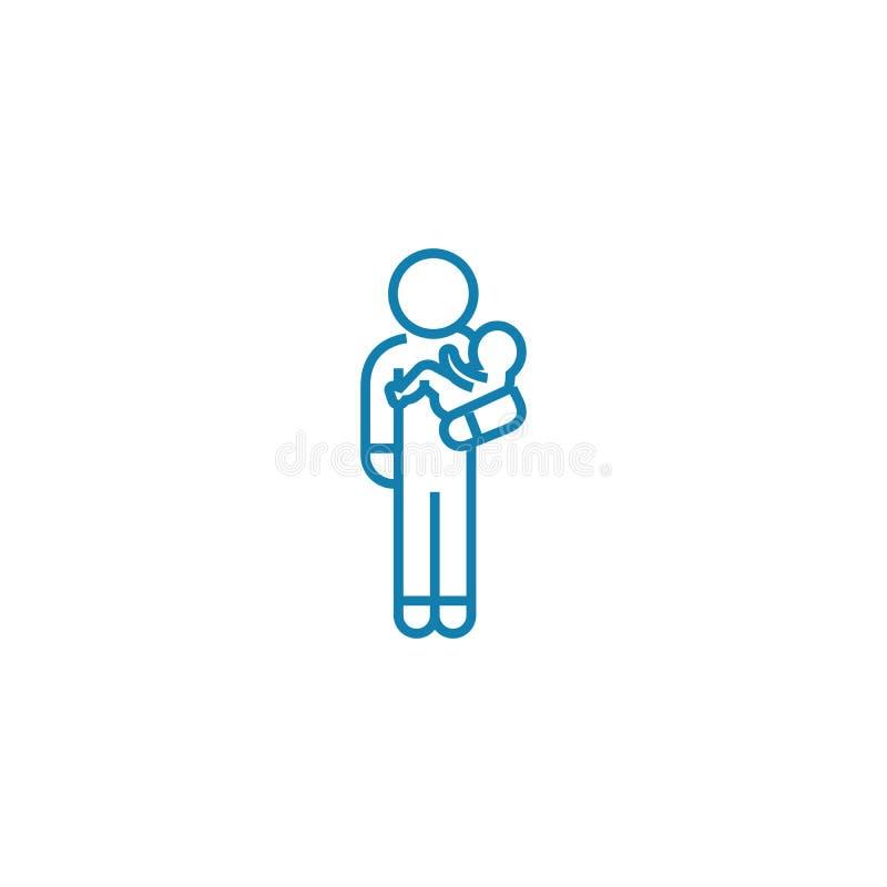 Linjärt symbolsbegrepp för Babysitter Babysitterlinje vektortecken, symbol, illustration stock illustrationer