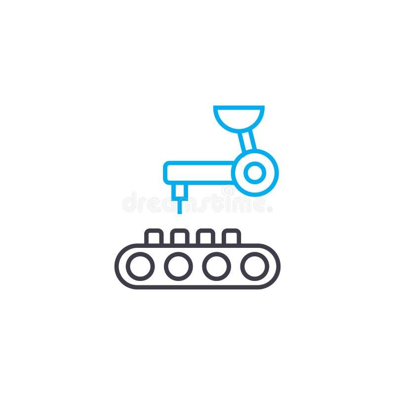 Linjärt symbolsbegrepp för datastödd tillverkning Linje vektortecken, symbol, illustration för datastödd tillverkning royaltyfri illustrationer