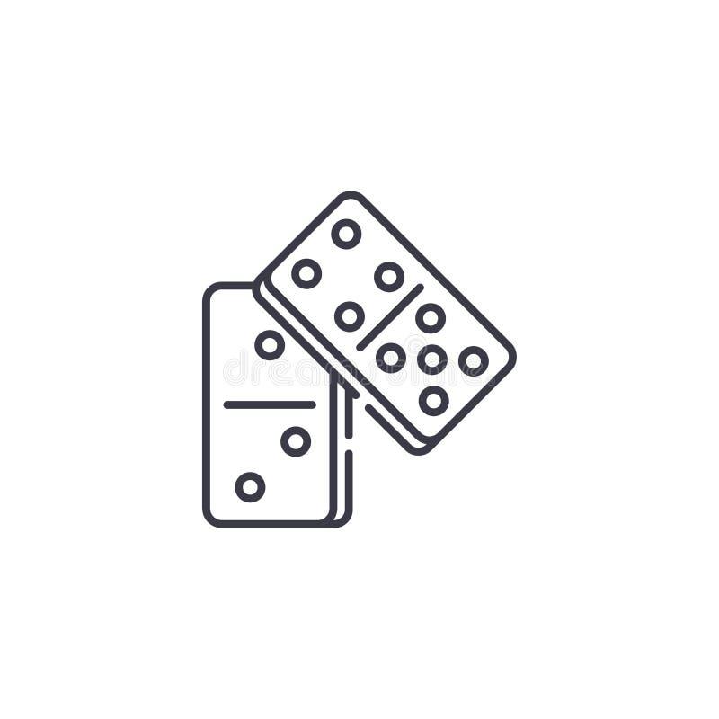 Linjärt symbolsbegrepp för dominobricka Dominobrickalinje vektortecken, symbol, illustration royaltyfri illustrationer