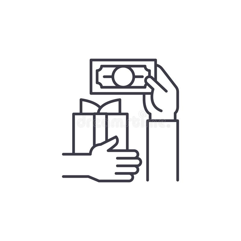 Linjärt symbolsbegrepp för fynd Köpslå linjen vektortecknet, symbolet, illustration royaltyfri illustrationer