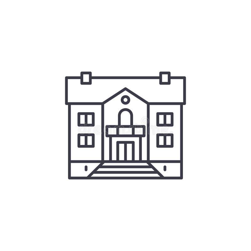 Linjärt symbolsbegrepp för herrgård Herrgårdlinje vektortecken, symbol, illustration royaltyfri illustrationer
