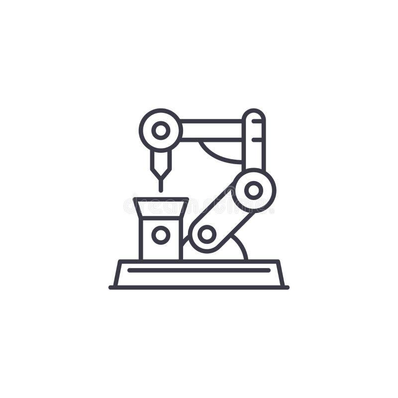 Linjärt symbolsbegrepp för industriell robotteknik Industriell robottekniklinje vektortecken, symbol, illustration stock illustrationer