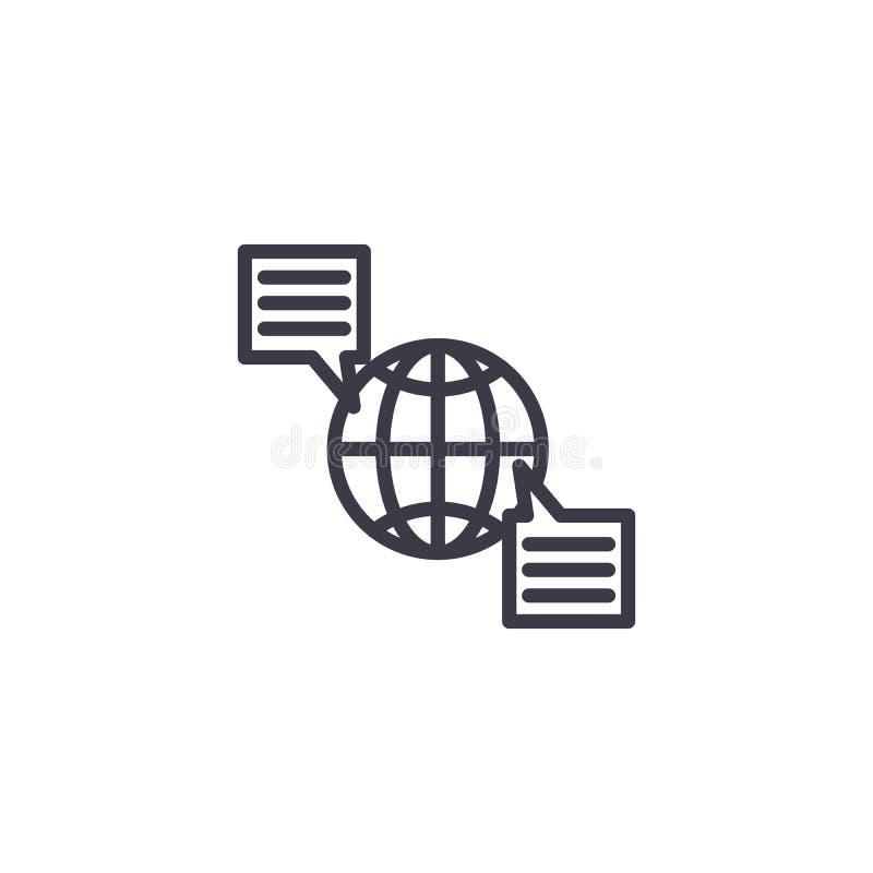 Linjärt symbolsbegrepp för internationell allmän opinion Internationell allmän opinionlinje vektortecken, symbol, illustration stock illustrationer
