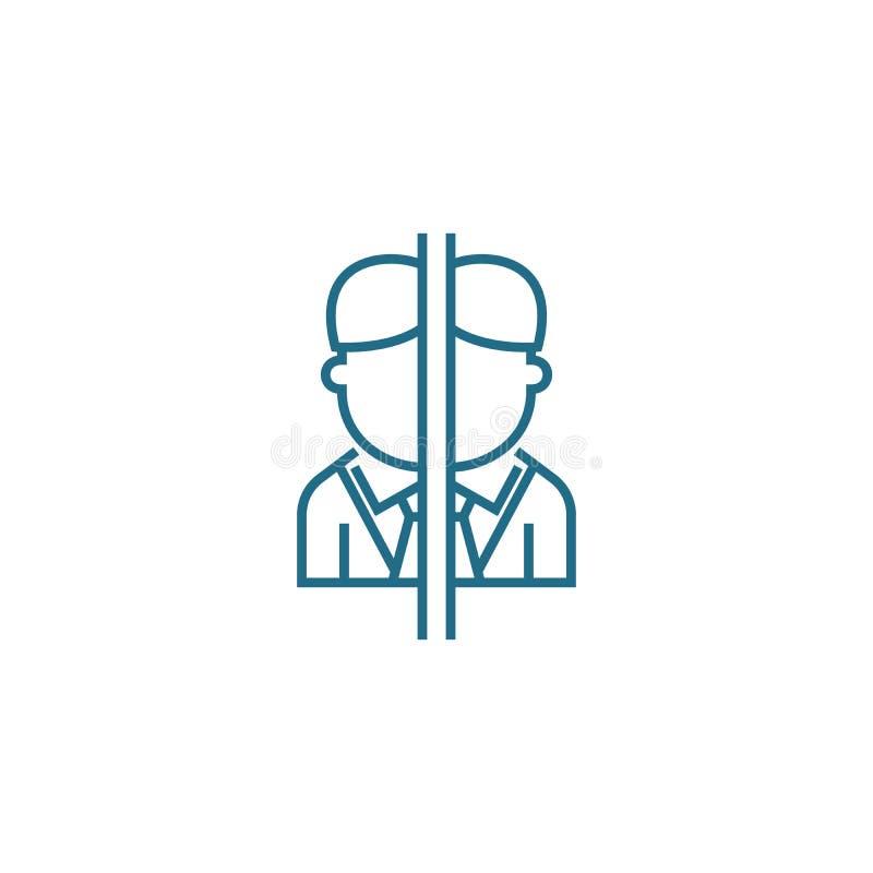 Linjärt symbolsbegrepp för intressekonflikt Intressekonfliktlinje vektortecken, symbol, illustration stock illustrationer