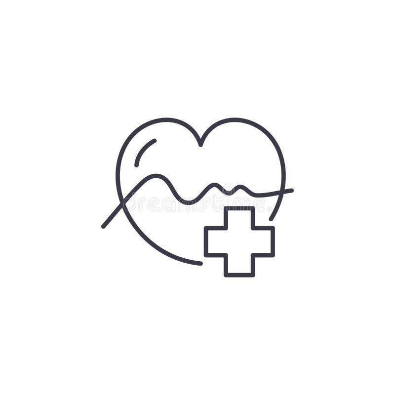 Linjärt symbolsbegrepp för kardiologi Kardiologilinje vektortecken, symbol, illustration stock illustrationer