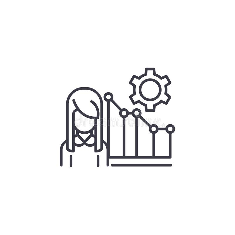 Linjärt symbolsbegrepp för marknadschef Marknadscheflinje vektortecken, symbol, illustration stock illustrationer