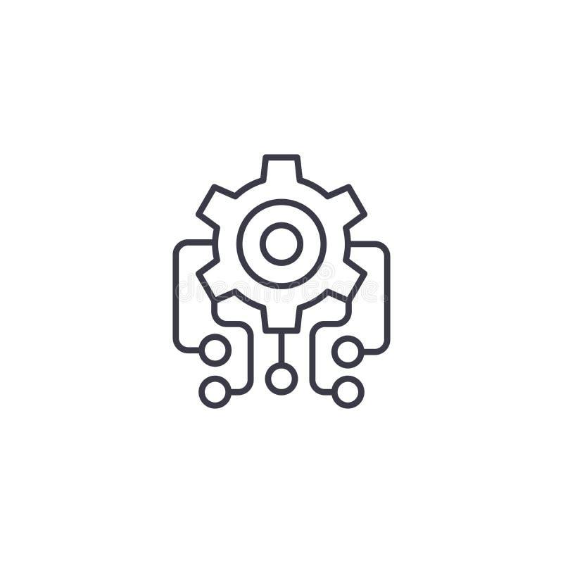 Linjärt symbolsbegrepp för Microcircuit Microcircuitlinje vektortecken, symbol, illustration vektor illustrationer