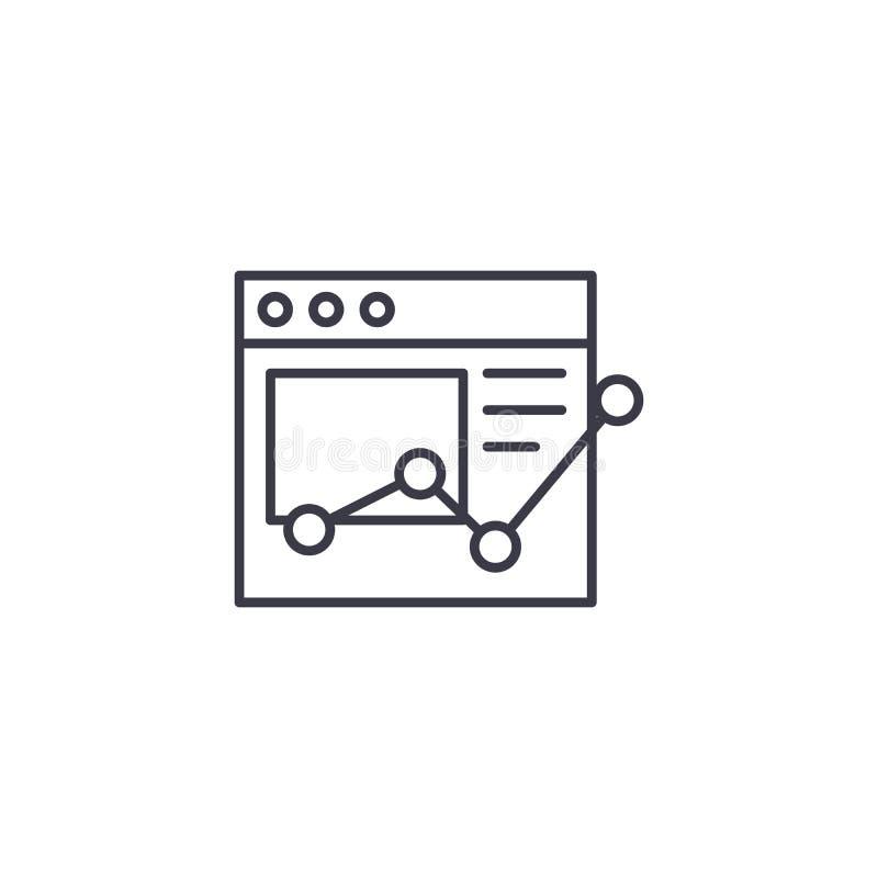 Linjärt symbolsbegrepp för online-rapport Online-rapportlinje vektortecken, symbol, illustration royaltyfri illustrationer