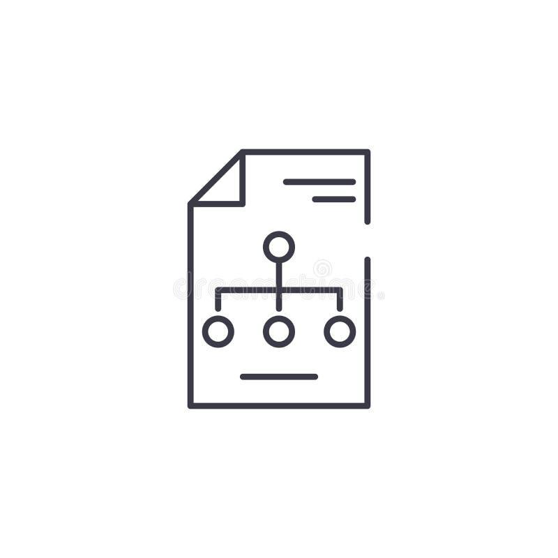 Linjärt symbolsbegrepp för organisatorisk struktur Linje vektortecken, symbol, illustration för organisatorisk struktur royaltyfri illustrationer