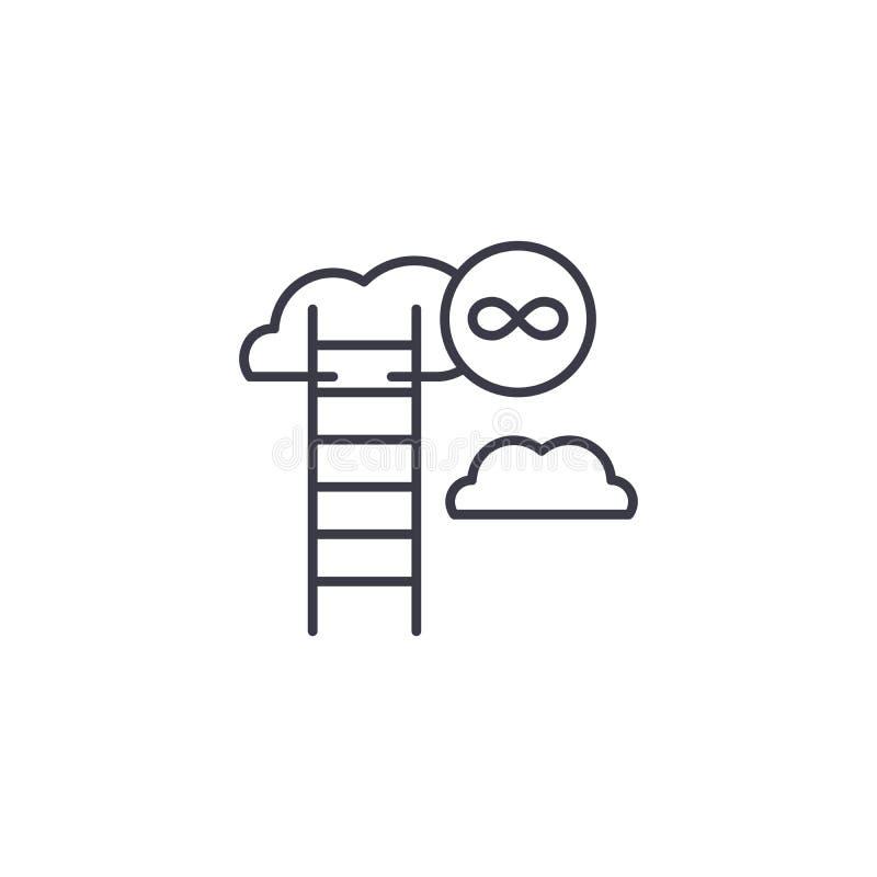 Linjärt symbolsbegrepp för oupphörlig tillväxt Oupphörlig tillväxtlinje vektortecken, symbol, illustration stock illustrationer