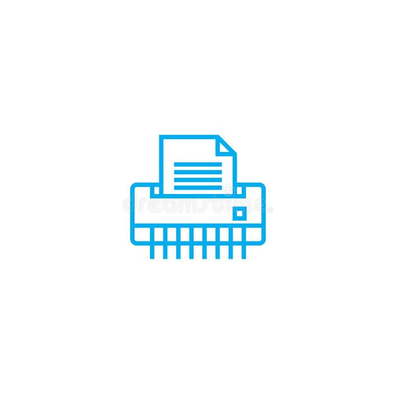 Linjärt symbolsbegrepp för pappers- dokumentförstörare Linje vektortecken, symbol, illustration för pappers- dokumentförstörare vektor illustrationer