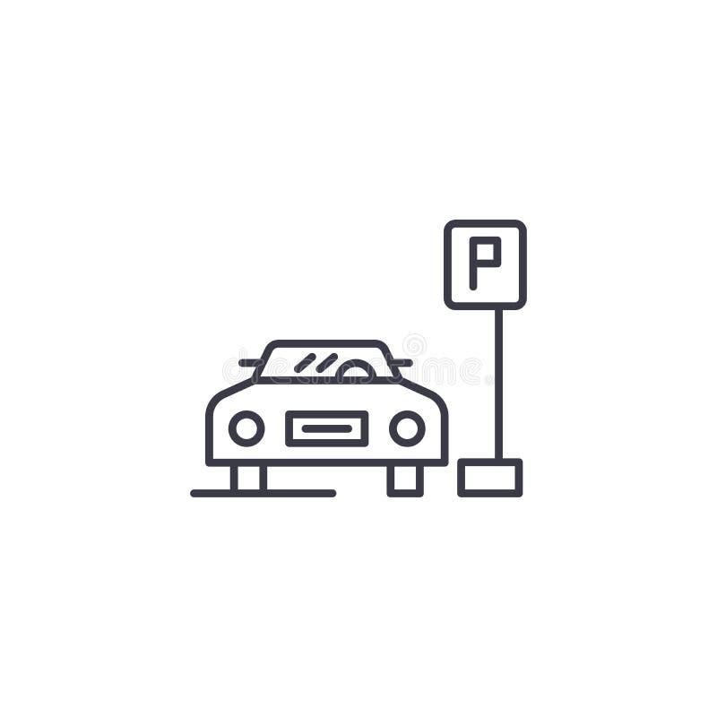 Linjärt symbolsbegrepp för parkeringsplats Parkeringsplatslinje vektortecken, symbol, illustration stock illustrationer