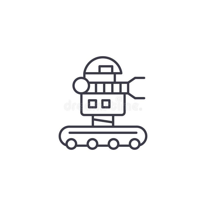 Linjärt symbolsbegrepp för rörlig robot Rörlig robotlinje vektortecken, symbol, illustration vektor illustrationer