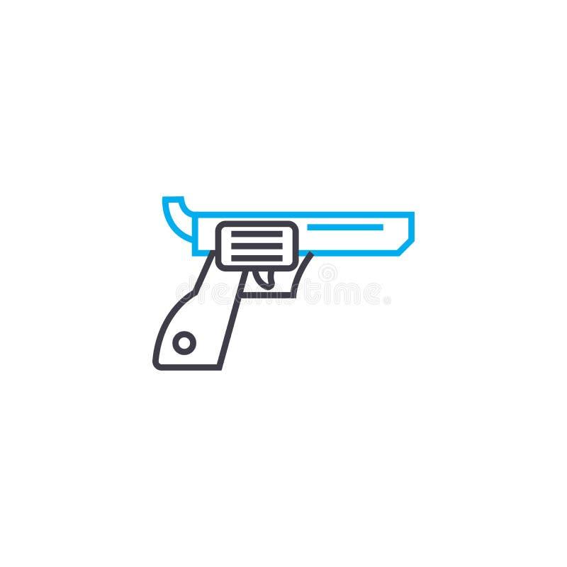 Linjärt symbolsbegrepp för revolver Revolverlinje vektortecken, symbol, illustration vektor illustrationer