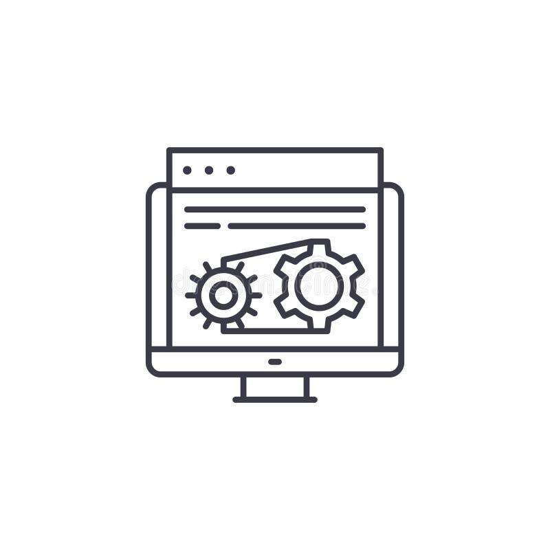 Linjärt symbolsbegrepp för schematiskt diagram Linje vektortecken, symbol, illustration för schematiskt diagram royaltyfri illustrationer
