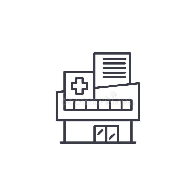 Linjärt symbolsbegrepp för sjukhus Sjukhuslinje vektortecken, symbol, illustration vektor illustrationer