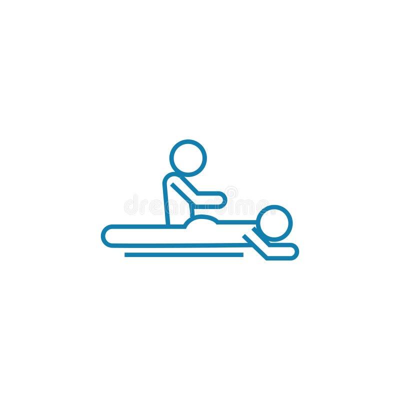 Linjärt symbolsbegrepp för tillbaka massage Tillbaka massagelinje vektortecken, symbol, illustration royaltyfri illustrationer