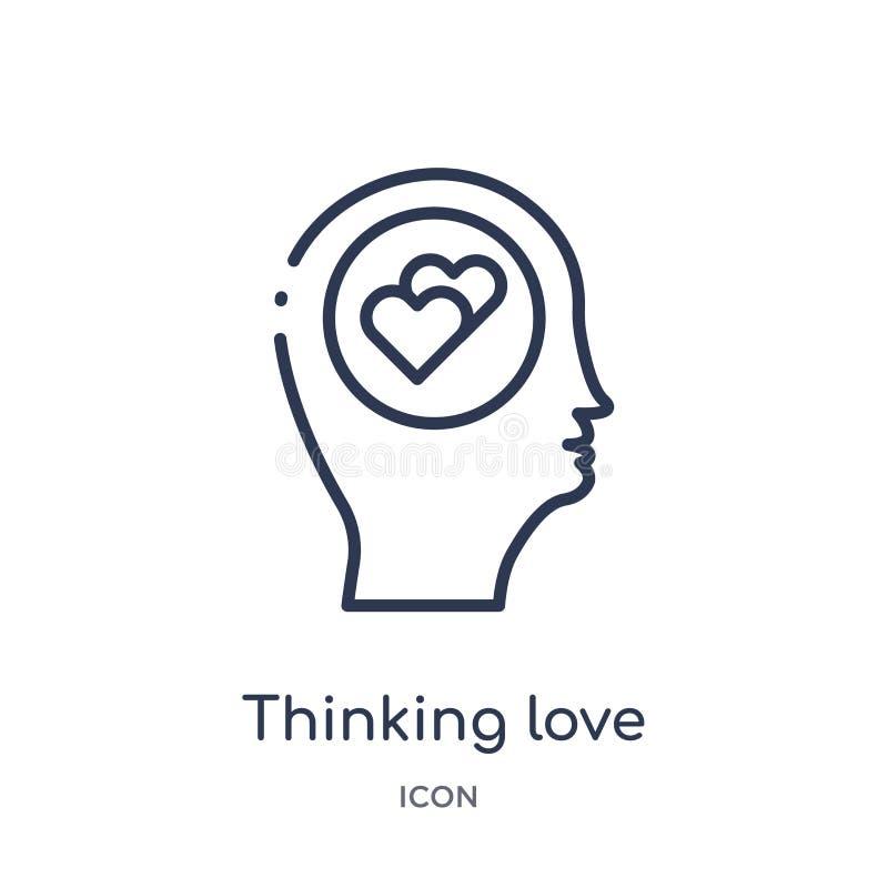 Linjärt tänka älskar symbolen från samling för hjärnprocessöversikt Den tunna linjen att tänka älskar vektorn som isoleras på vit stock illustrationer