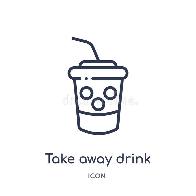 Linjärt ta bort drinksymbolen från bioöversiktssamling Den tunna linjen tar bort drinkvektorn som isoleras på vit bakgrund take vektor illustrationer