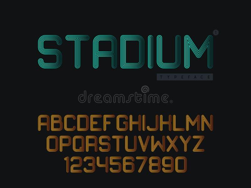 Linj?r stora bokstavsstilsort f?r vektor Bokst?ver och nummer f?r latinskt alfabet vektor illustrationer