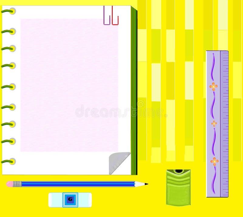 Linjal för illustrationstudiehjälpmedel och teckningsblyertspenna arkivfoton
