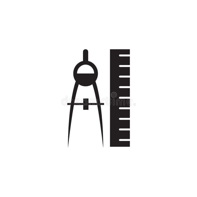 Linjal- och kompasssymbol Beståndsdelar av konstruktion bearbetar symbolen Högvärdig kvalitets- grafisk design Tecken ico för öve royaltyfri illustrationer