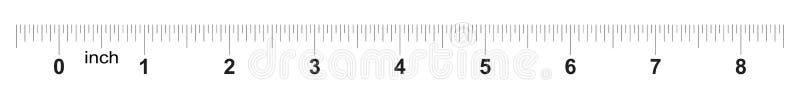 Linjal 8 tum Metertumformatindikator Raster för decimal- system mätande hjälpmedel vektor illustrationer