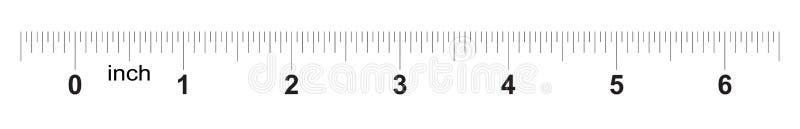 Linjal 6 tum Metertumformatindikator Raster för decimal- system mätande hjälpmedel vektor illustrationer