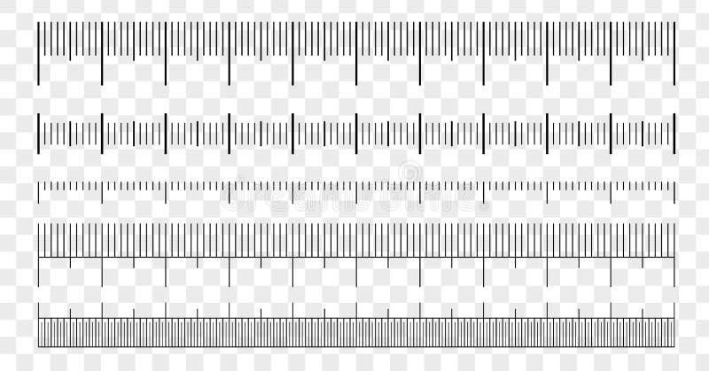 Linjalskalamått Isolerat diagram för längdmätningsskala vektor illustrationer