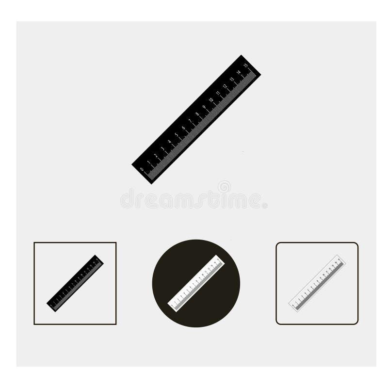 Linjalsymbol Grå färgbakgrund också vektor för coreldrawillustration stock illustrationer