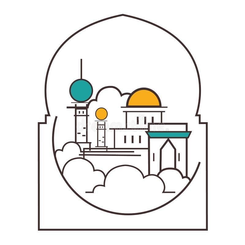 Linje översiktsstilsymbol för illustration för moskékupolminaret av islam royaltyfri illustrationer