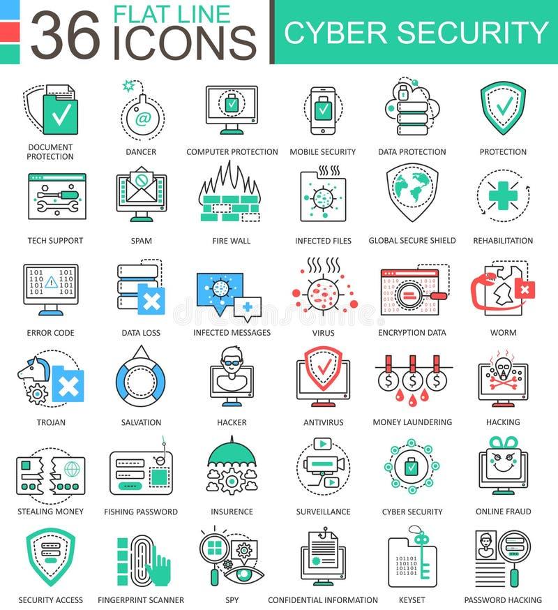 Linje översiktssymboler för lägenhet för färg för vektorCybersäkerhet modern för apps och rengöringsdukdesign royaltyfri illustrationer