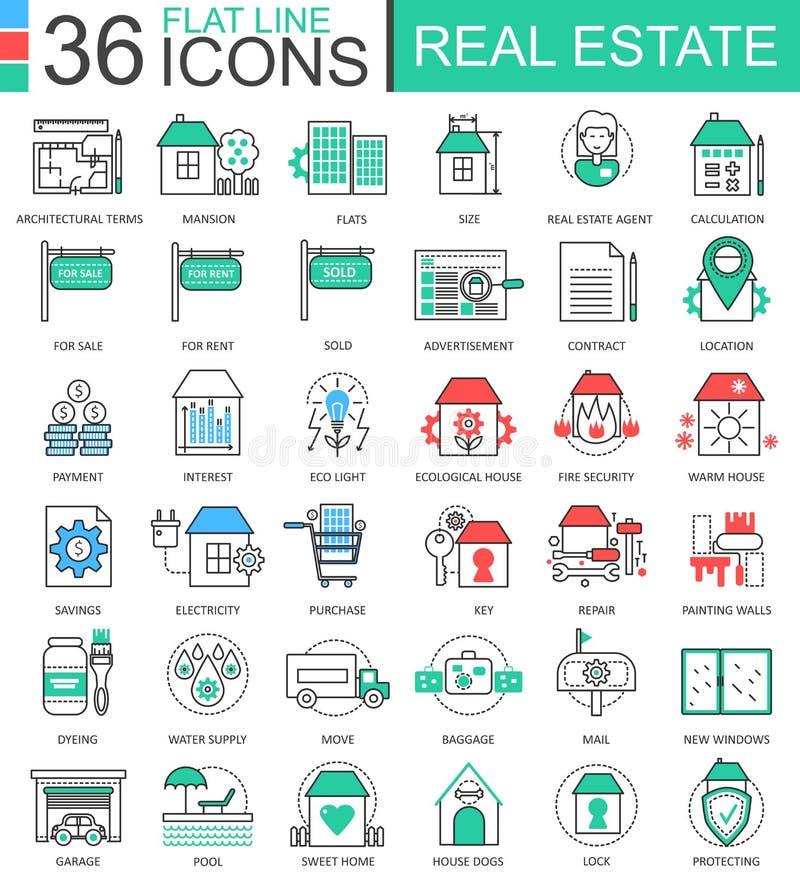 Linje översiktssymboler för lägenhet för färg för vektorfastigheter modern för apps och rengöringsdukdesign Real Estate symboler stock illustrationer