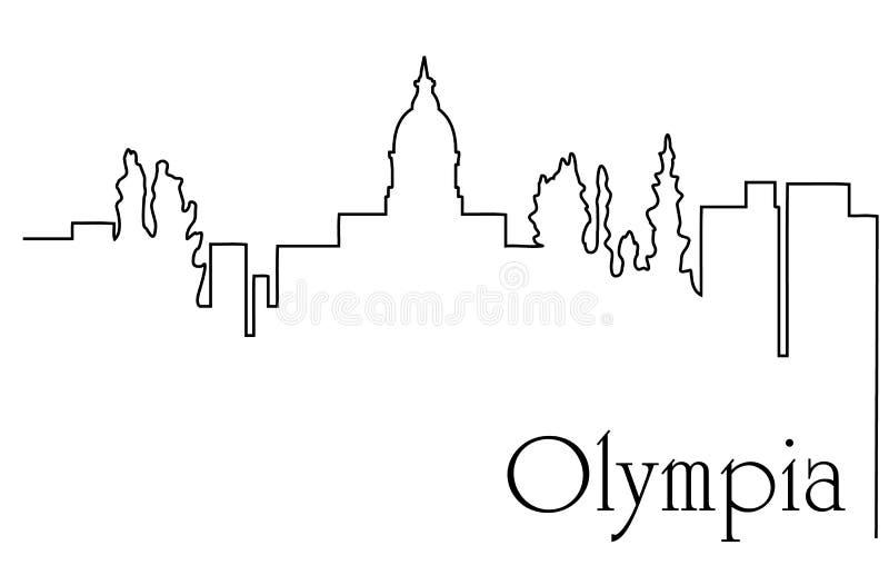Linje abstrakt bakgrund för Olympia stad en för teckning med cityscape royaltyfri illustrationer