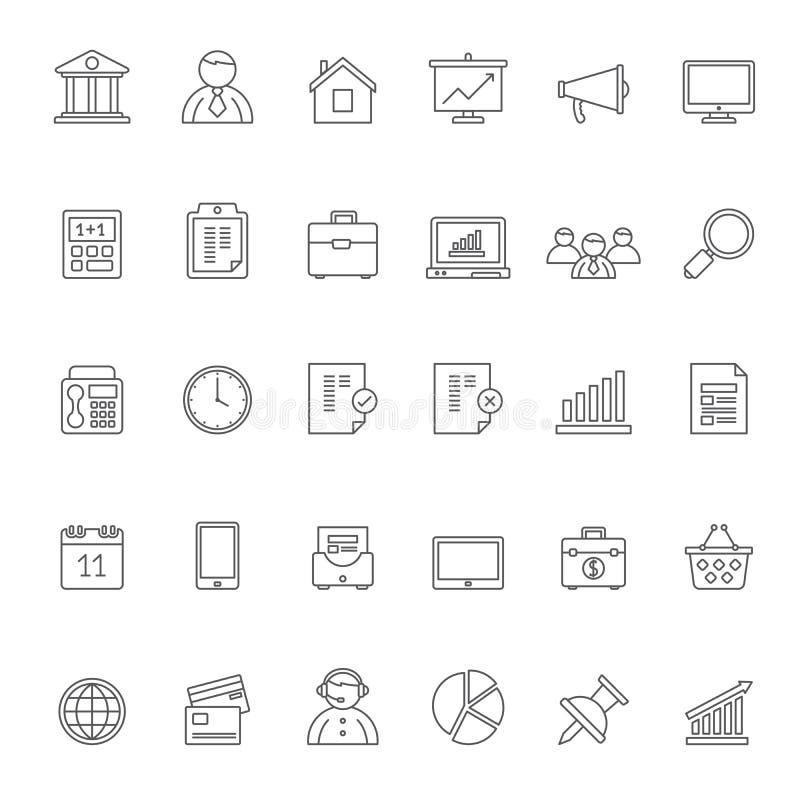 Linje affär, kontor och finanssymboler 1 royaltyfri illustrationer