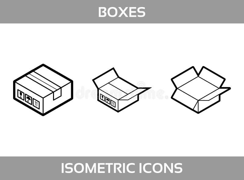 Linje artÂsymbolerför vektor för askar för enkel uppsättningofisometriskförpackande Svartvit linje isometriska symboler för k royaltyfri illustrationer