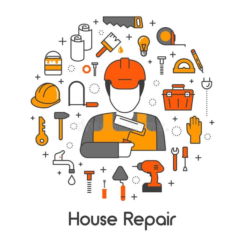 Linje Art Thin Icons Set för husreparationsrenovering med repairmanen och hjälpmedel stock illustrationer