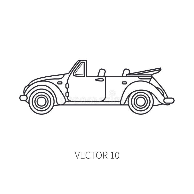Linje automatisk för cabriolet för turism för vektorsymbol retro Klassisk 50-talstil Bil för nostalgisubcompactantikvitet Sommar royaltyfri illustrationer