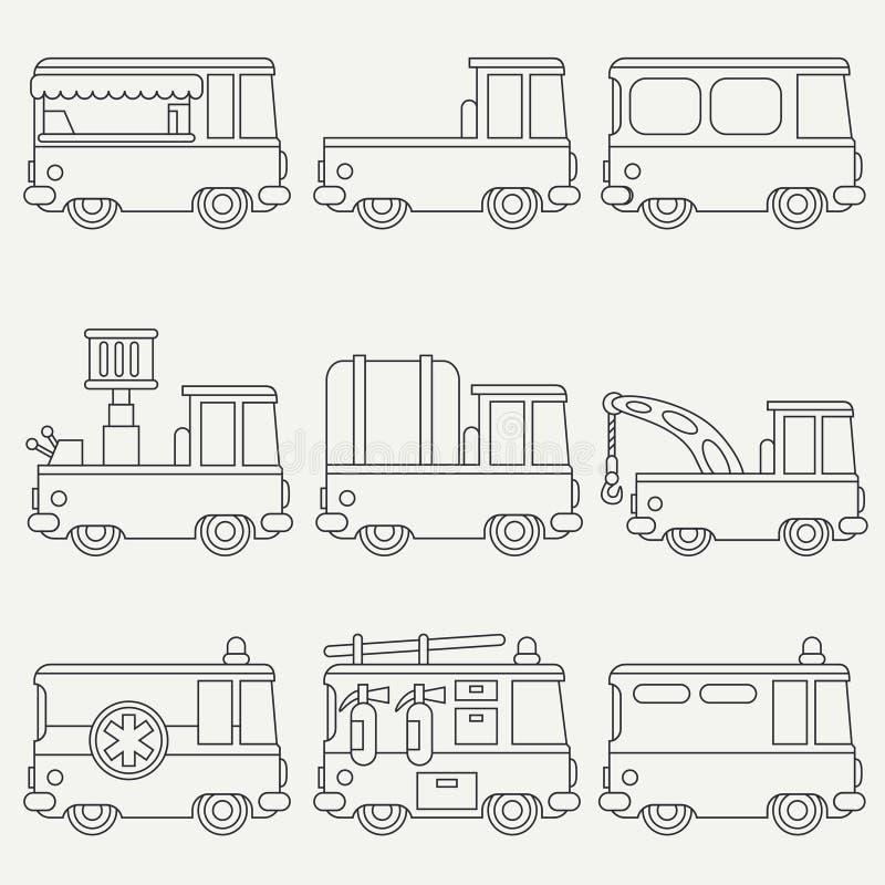 Linje automatisk för stad för plan monokrom vektorsymbolsuppsättning gullig retro Nöd- hjälpmedel Tecknad filmstil stads- lastbil vektor illustrationer