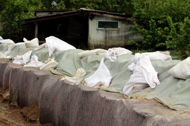 Linje av den tillfälliga väggen för flodskydd som göras av askbarriärer och sandsäckar som täckas med tjockt van vid geotextilety arkivbilder