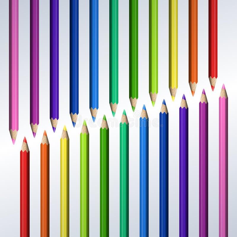 Linje av realistiska färgrika blyertspennor på vit bakgrund royaltyfri illustrationer