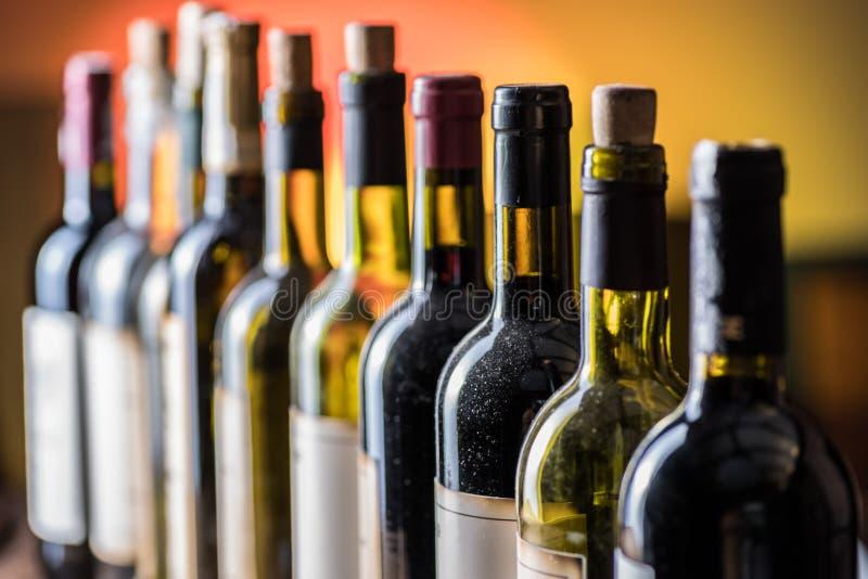 Linje av vinflaskor Närbild royaltyfri foto