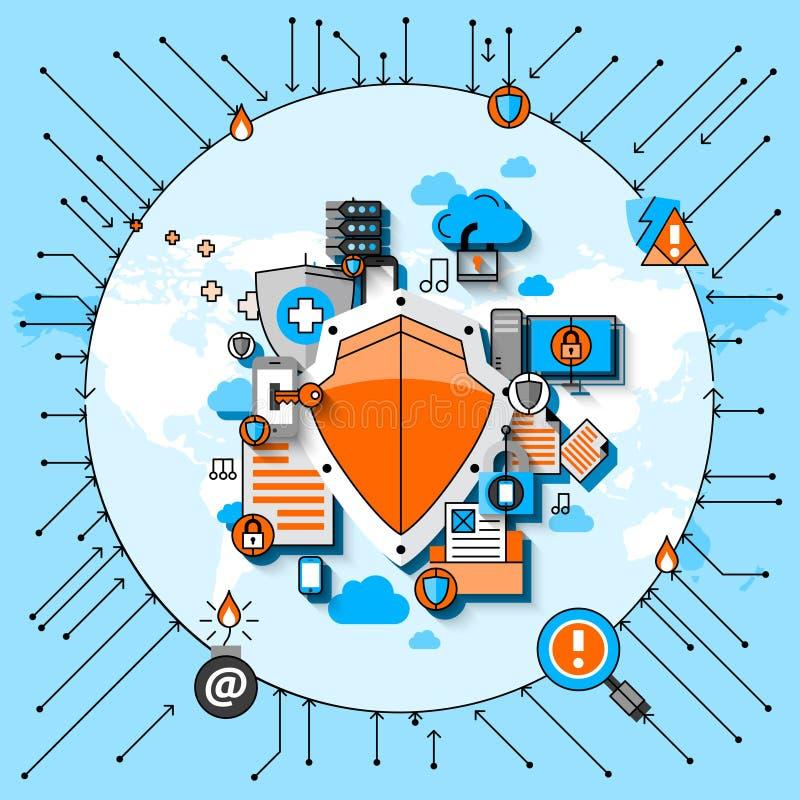 Linje begrepp för datasäkerhet stock illustrationer
